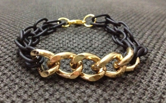 kokonatto: FREE SHIPPING - double black chain & gold chain bracelet