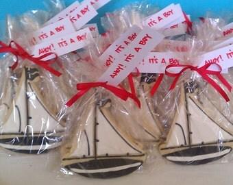 One Dozen - Ahoy It's A Boy -  Sailboat Baby Shower Cookie Party Favors