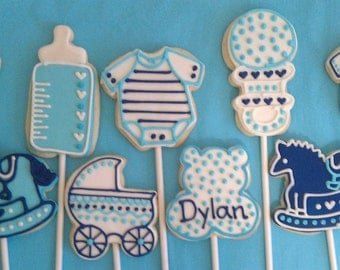 Baby Blue & Navy Cookie Party Favors - 1 Dozen