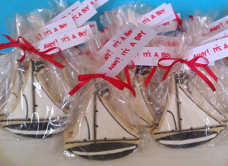 one dozen ahoy it 39 s a boy sailboat baby shower cookie