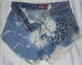 Vintage HIGH WAIST Blue Wash and Bleached Distressed/Ripped Denim SHORTS with Studs