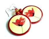 Red flowers poppies. Handmade wooden decoupage earrings. The effect of glass. Red, yellow, beige.