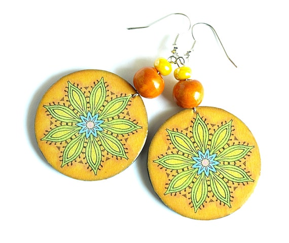 Round earrings decoupage (wooden). Orange, yellow and blue. The glass effect. Perfect for the summer.