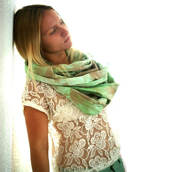 Oversized Hand Dyed Cotton Scarf. Pistachio & Chamoisee.
