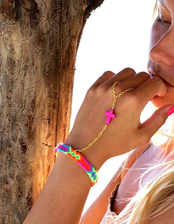 Hot Pink Cross Handpiece. Bright neon friendship bracelet.