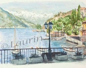 Varenna One Winter - PRINT of my Original Watercolor of Marina on Lake Como in Italy with the Alps Mountains