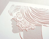 Lace - papercut silhouette - handcut white papercut poster