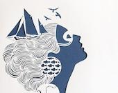 Sirene - handmade papercut poster - A4