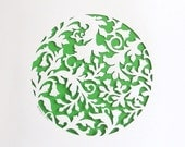 Summer Plants - handcut papercut poster with a floral pattern - white, green, A4