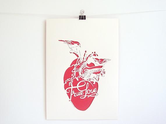 True Love Heart - handmade papercut poster - beige, red - A4