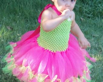 Girls tied tutu dress/watermelon tutu dress/baby girl tutu dress/photo prop