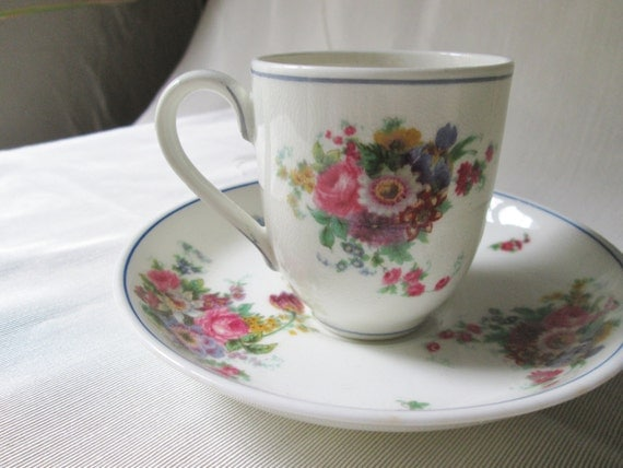 Vintage Royal Worcester Chocolate Cup and Saucer