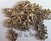 10 x 17mm  silver acrylic anchor charms /beads