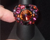 BIG Crystal, BUBBLE Cocktail Ring with Swarovski Crystal Elements - Dome Shape, Vibrant Colors - Made To Order