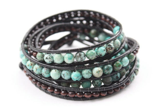 Bohemian Leather Beaded Wrap Bracelet x5 with Wooden and African Turquoise Beads and Antiqued Brass Closure