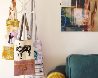 French Bull Dog/ Pug screen print tote bag. (Small).