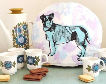 Jack Russell tea cosy. (Blue and purple).