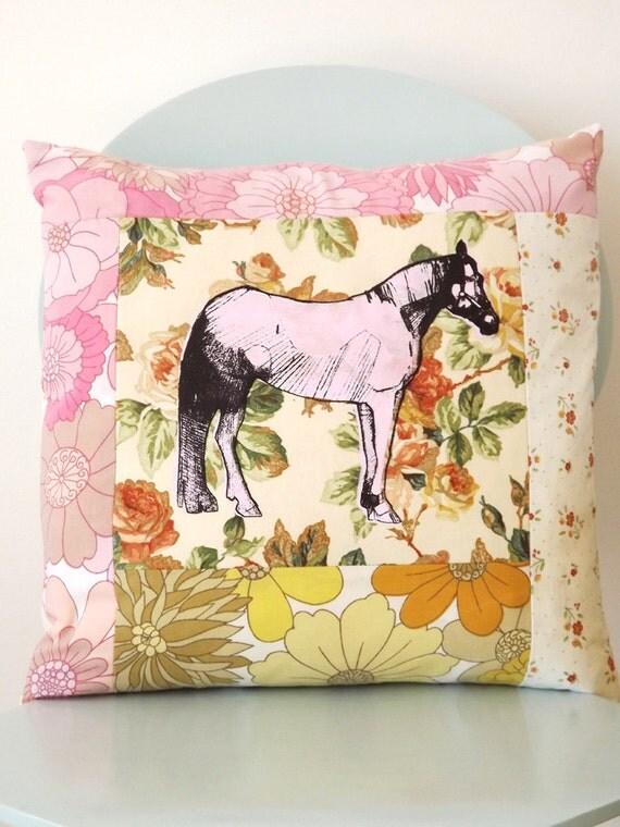 Lonesome Horse screen print patchwork square cushion. (Medium).