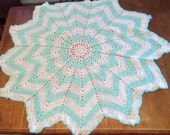 Mint Green Round Ripple Baby Afghan