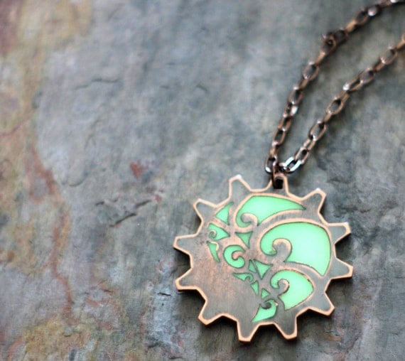 Steampunk Jewelry Necklace - Copper Cog Gear With Abstract Leaf Design - Glow In The Dark