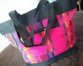 Bright handwoven Bolivian tote bag in vibrant PINK