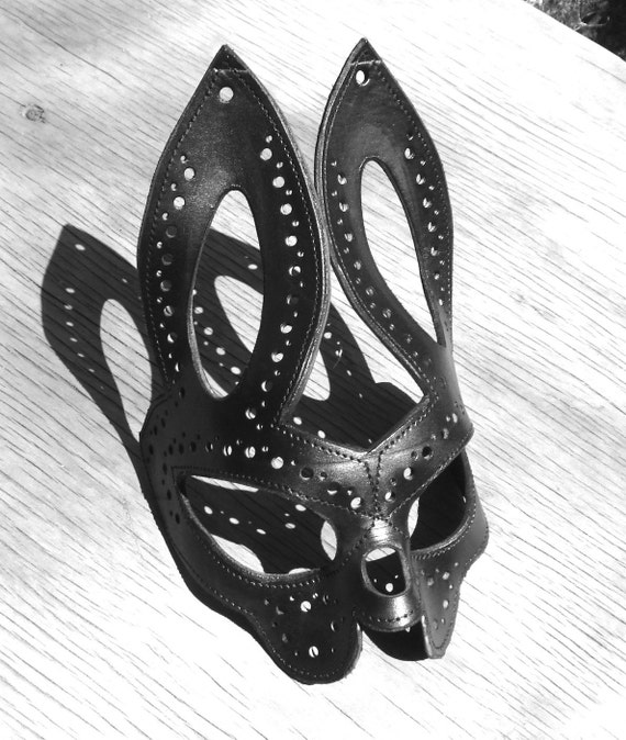 Unique Molded Leather Bunny Rabbit Mask
