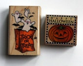 Halloween Trick or Treat Pumpkin Ghost Rubber Stamps