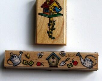 Birdhouse Gardening Rubber Stamps