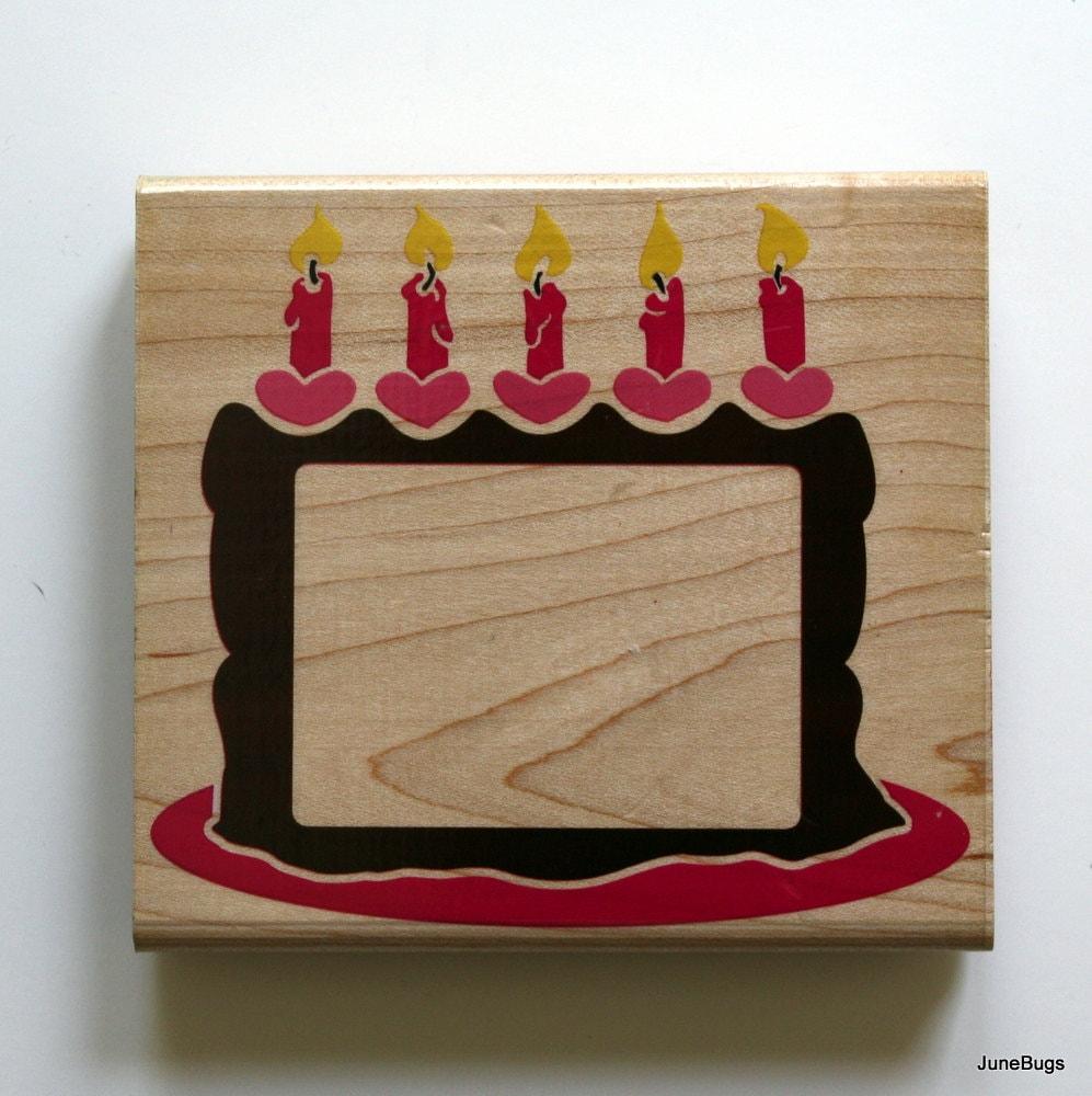Cake With Photo Frame : Birthday Cake Frame Rubber Stamp