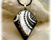 Black and White Pendant, Original Painting Fused Glass Focal Pendant