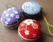 Red Macaron Coin Case Made with Japanese Kimono Fabric