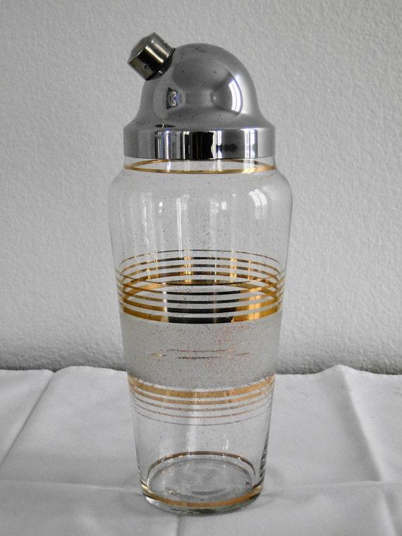 Vintage Mid-Century Glass Cocktail Shaker