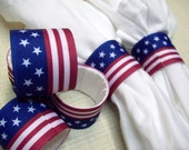 Set of 6 Handmade Napkin Rings Stars and Stripes 4th of July Memorial Day table decoration Handmade Patriotic