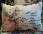 Vintage Print of Floral Envelope w Bird Small Cushion - Maisonvogue