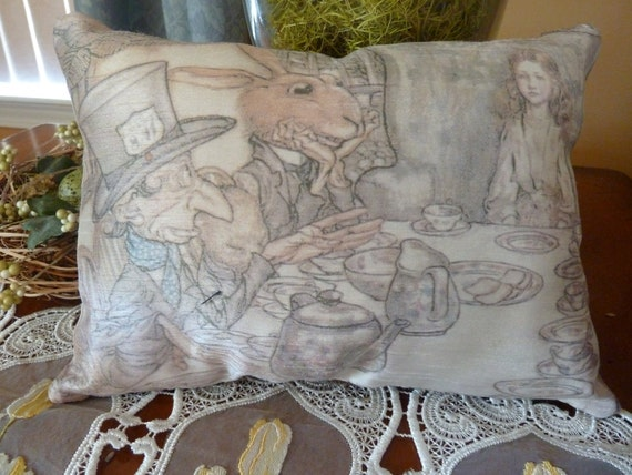 Vintage Print of 1907's  Mad Hatter's Tea party cushion