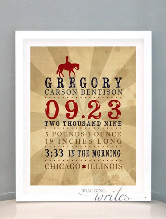 Cowboy Themed Custom Birth Stat Print Wall Art Nursery Decor or Birth Announcement- Printable (Western Theme)