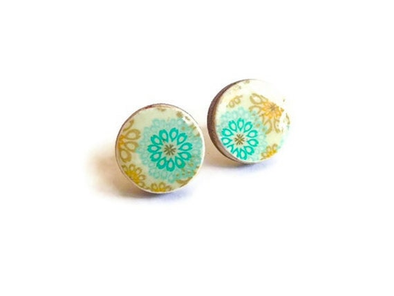 Wood Earrings round studs, beige, cream and aqua blue floral pattern