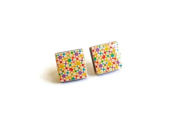 Wood Earrings square studs, bright retro rainbow pattern