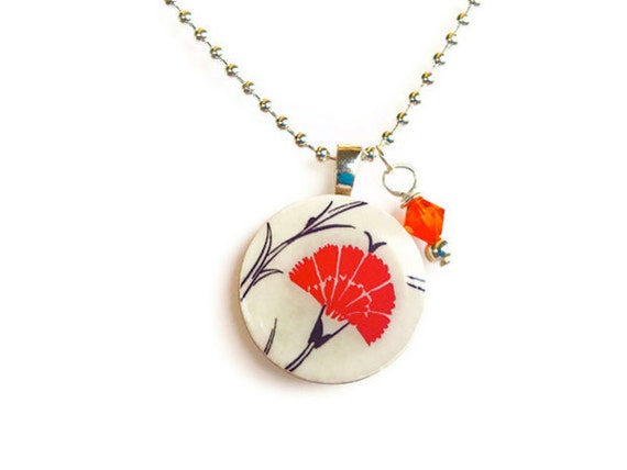 Wood pendant necklace asian inspired red flower on a white background design with swarovski crystal charm
