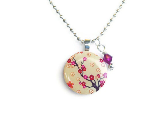 Wood pendant necklace with pink and red cherry blossoms design and swarovski crystal charm
