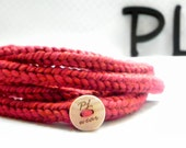 Red extra long skinny infinity rope necklace scarf by PL wear