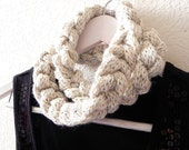 Chain infinity scarf - Double knitted and crocheted neckwarmer chain scarf by PL wear