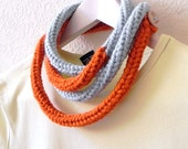 Necklace scarf - Knitted color block orange and pale blue skinny infinity rope necklace scarf