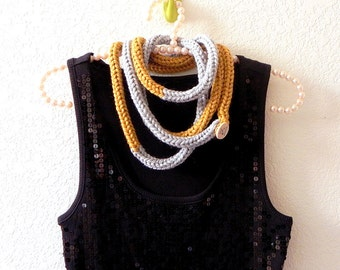 Knitted yarn necklace - Gray and yellow skinny infinity necklace scarf by PL wear