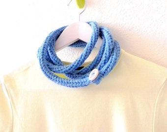 Bold necklace - Knitted sky blue extra long skinny infinity scarf rope necklace