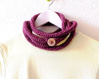 Bold necklace - Knitted fig purple extra long skinny infinity rope scarf necklace