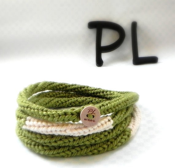 Knitted color block olive green and cream skinny infinity rope necklace scarf by PL wear