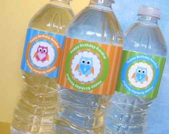 Owl Water Bottle Labels, Custom Water Bottle Wrapper, DIY Party Printable, Personalized, Owl Birthday Party