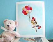 girl, kids wall art, red and pink balloons, polka dot, childrens art print 8x10
