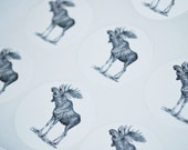 "Vintage Moose Stickers -  Envelope Seals Stickers - Birthday Stickers, Favor Stickers 12 Count 1.5"" Diameter"